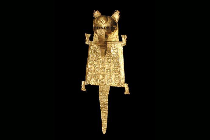 Bolsa ceremonial de oro para coca o tabaco. Estilo Frías.